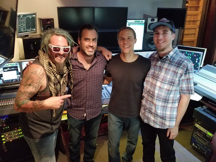 Rocking at the studio for their debut album Blue Burning Sky!