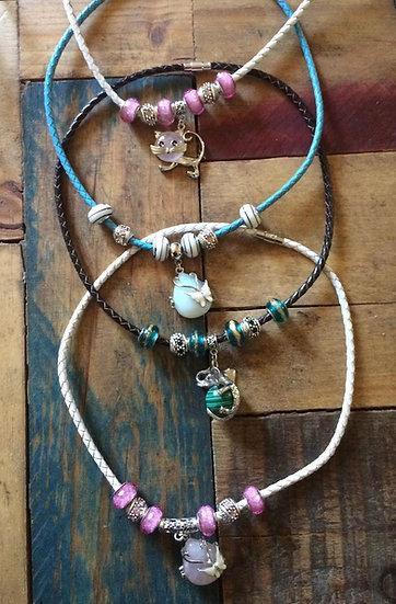 Colliers 7 perles + pierre