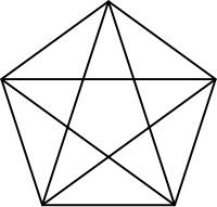 Pentágono formando a estrela de cinco pontos.