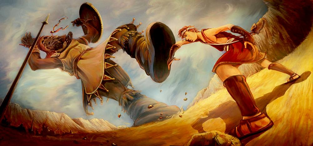 Ilustração de Davi e Golias.
