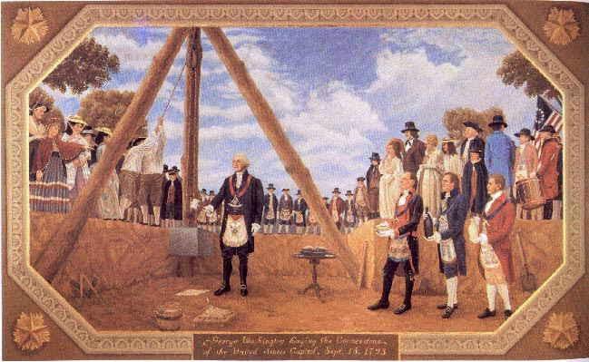 George Washington, dentro de um triângulo, em traje maçônico, no lançamento da pedra fundamental da construção.