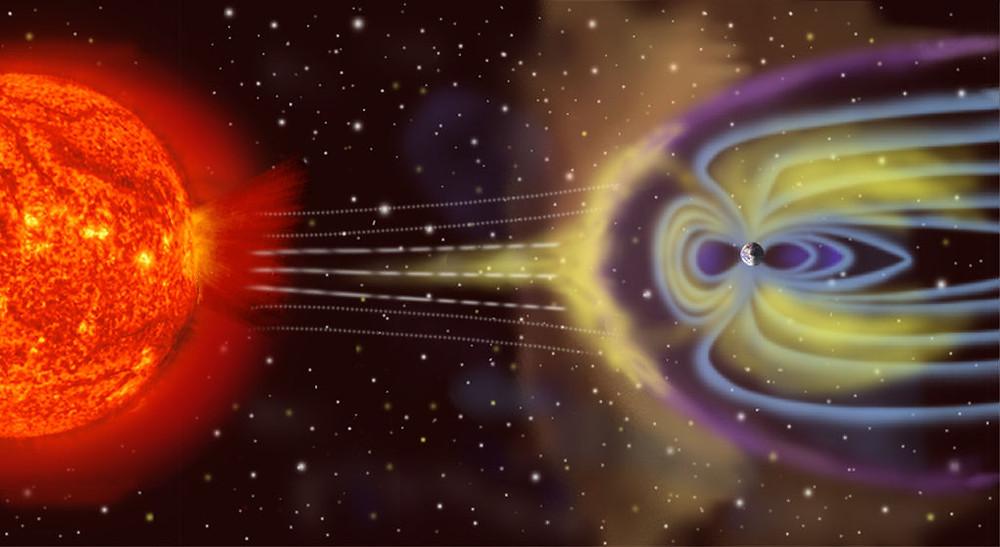 Imagem ilustrativa do que seriam os cinturões de radiação de Van Allen.