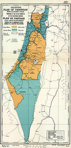 Mapa da divisão proposta pela ONU.