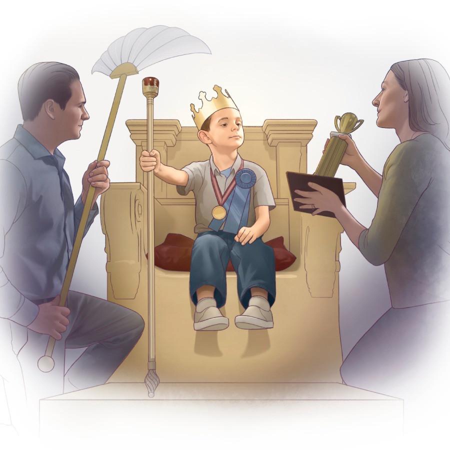 O filho como rei e seus pais como servos.
