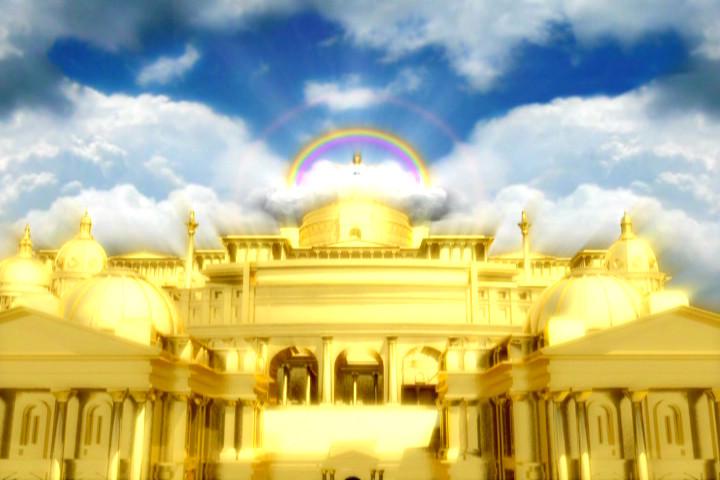 Ilustração representando o Templo milenar de Cristo.