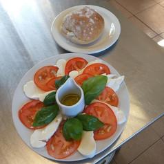 mozz, tom and basil salad