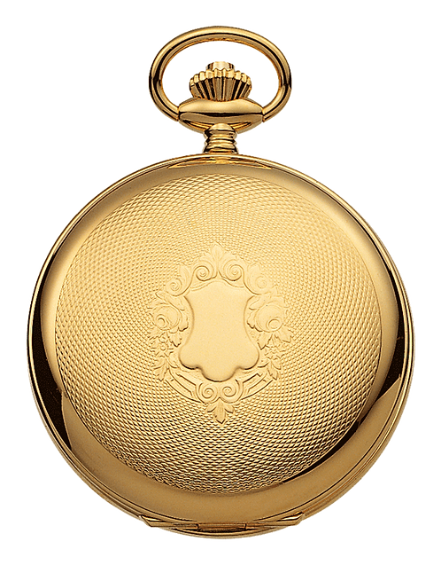Aérowatch pocket watch lid engraved, steel case gold plated, mechanical 1 day