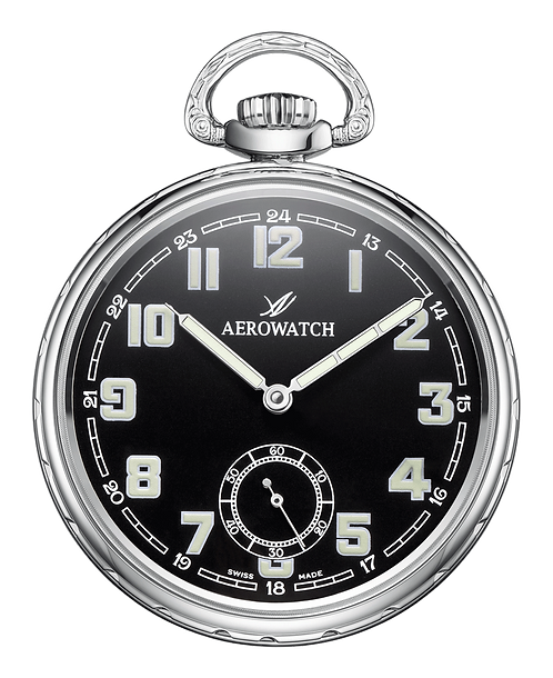 Aérowatch pocket watch, water resistant steel case black face small second arabic numerals, mechanical 1 day