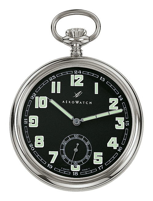 Aérowatch pocket watch, steel case black face small second arabic numerals, mechanical 1 day
