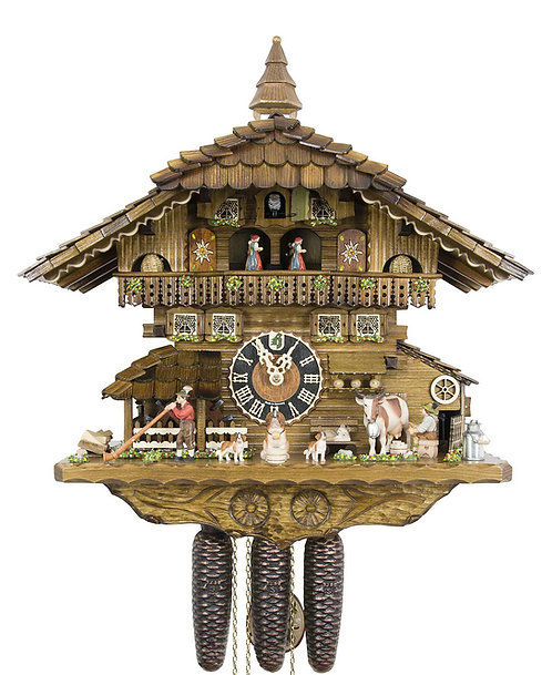 Hones 8 days Cuckoo clock, music, cow alp horn dancers dog, front view
