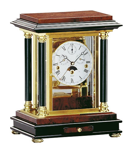 Kieninger Matel Clock, wood and brass case, moon phase, day date month, roman numerals, font view