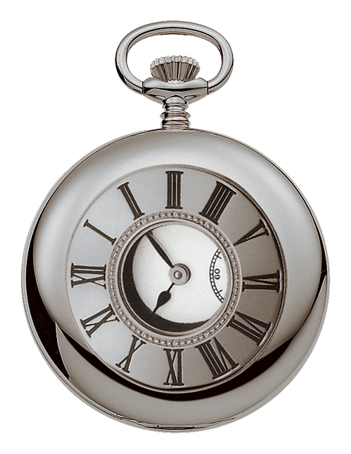 Aérowatch pocket watch lid roman numerals opening, steel case, mechanical 1 day