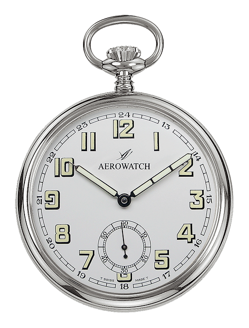 Aérowatch pocket watch, steel case white face small second arabic numerals, mechanical 1 day