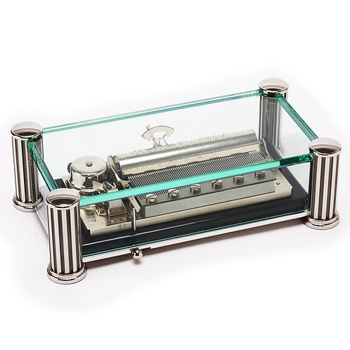 Reuge, large glass and metal music box, 72 blades 3 mélodies