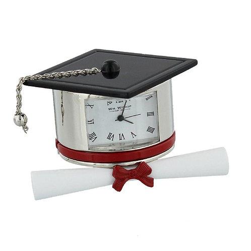 Metal Graduation hat & scroll, small clock, desk clock, front view