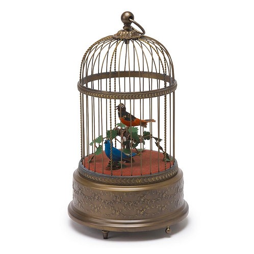 Reuge music box, automatic bird cage, vintage