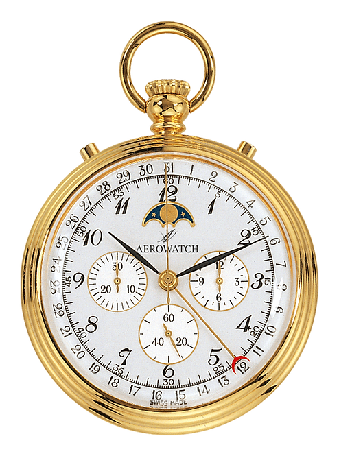Aérowatch pocket watch, steel case gold plated arabic numerals stopwatch moonphase, mechanical 1 day