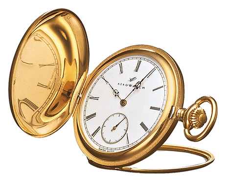 Aérowatch pocket watch lid, steel case gold plated stand white face small second roman numerals, mechanical 1 day