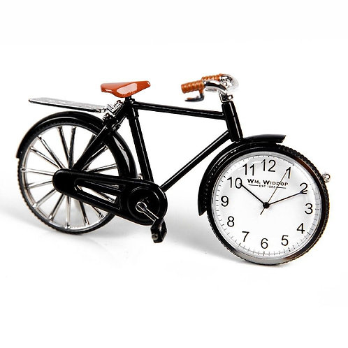 black bicycle, small clock front wheel, desk clock, front view
