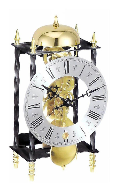 Hermle golden skeleton mechanical clock, black metallic frame, roman numerals, front