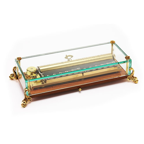 Reuge, large gold transparent music box, dolphins figues, 3 melodies 144 blades