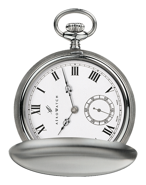 Aérowatch pocket watch lid, brushed steel case, roman numerals small second, mechanical 1 day