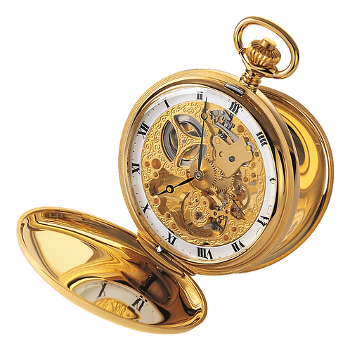 Aérowatch skeleton pocket watch 2 lids, steel case gold plated roman numerals, mechanical 1 day