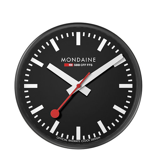 Mondaine wall clock, black metal, black face, white hands, red second hand, front view