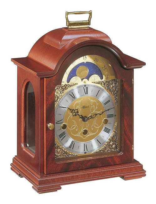 Hermle mantle clock, moon phase, mahogany wood case, gold face roman numerals, front