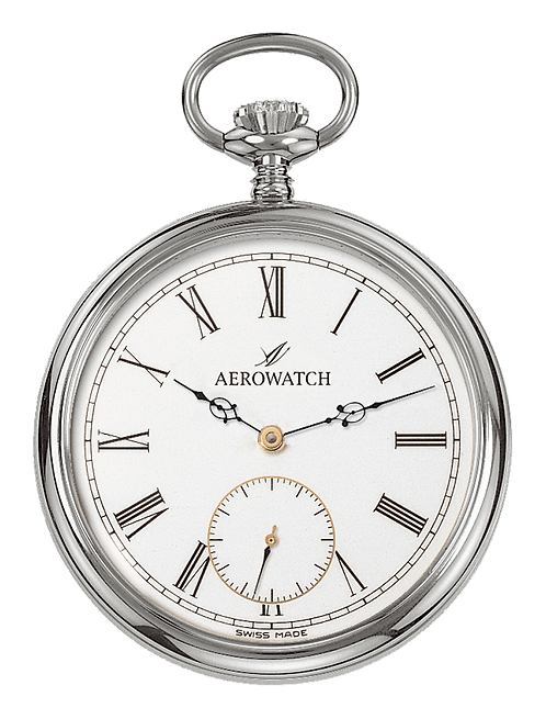Aérowatch pocket watch, steel case white face small second roman numerals, mechanical 1 day