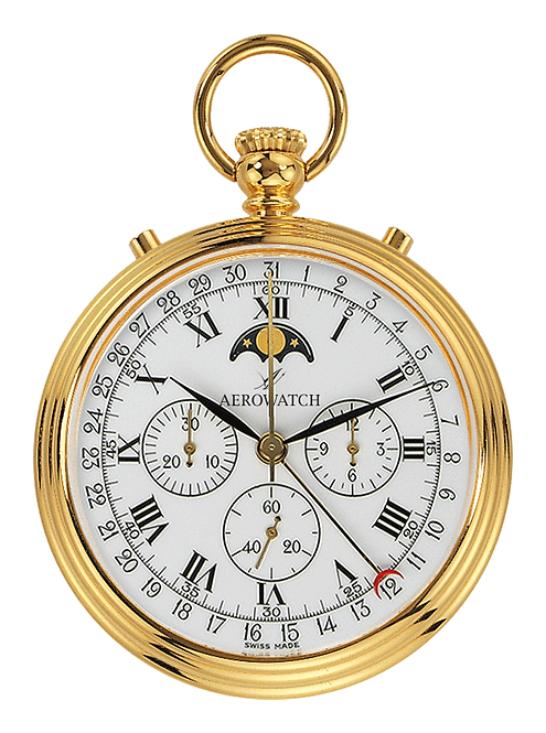 Aérowatch pocket watch, steel case gold plated roman numerals stopwatch moonphase, mechanical 1 day