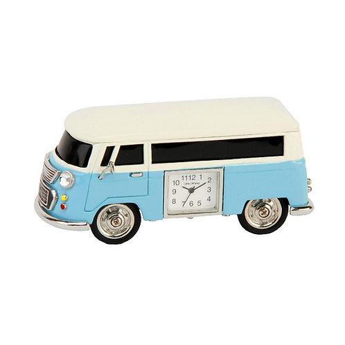 Blue VW campervan, small clock, desk clock, front view