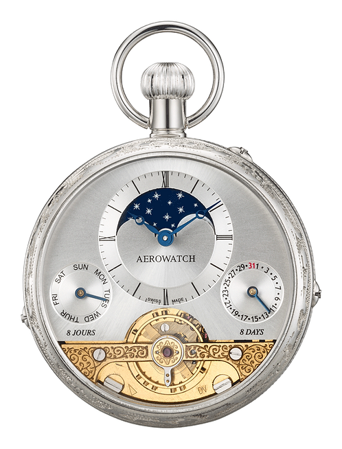 Aérowatch pocket watch, silver 925 case open movement moon phase day date