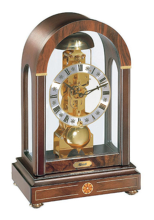 Hermle Tall Arched Skeleton Mantel Clock wood and glass, Roman numerals, 8 days movement