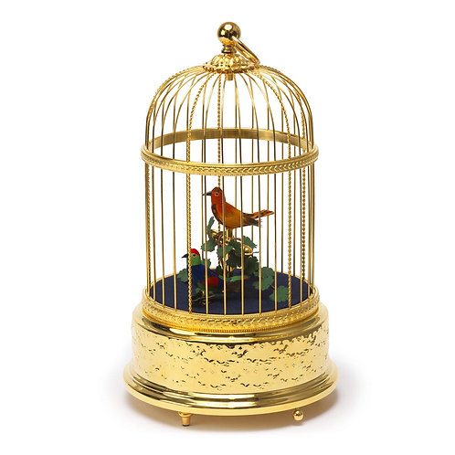 Reuge music box, automatic bird cage, gold