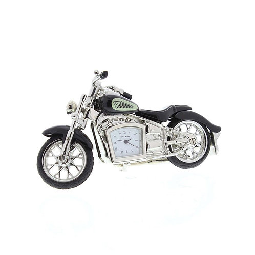 Black indian motocycle, small clock, desk clock, side view