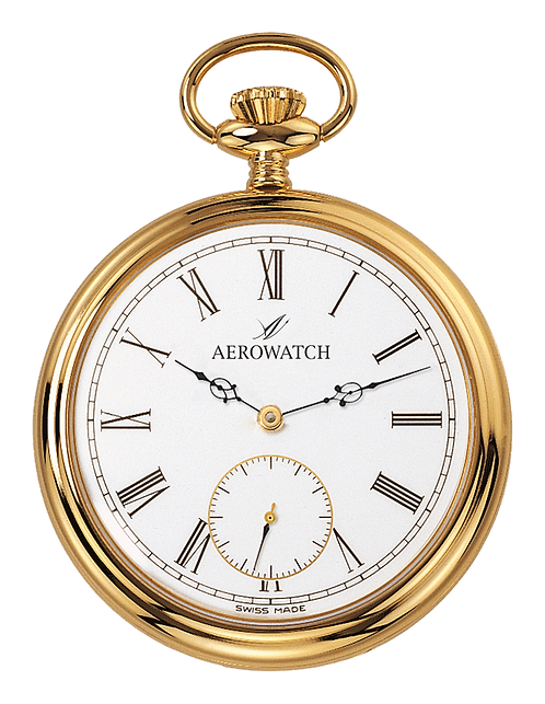 Aérowatch pocket watch, steel case gold plated white face small second roman numerals, mechanical 1 day