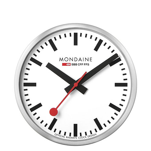 Mondaine wall clock, metal, white face, black hands, red second hand, front view