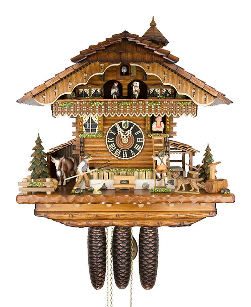 Hones 8 days Cuckoo clock, music, cow farmer dancers lovers, front view
