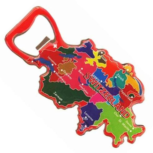 Magnet Bottle Opener Swiss Map Metal