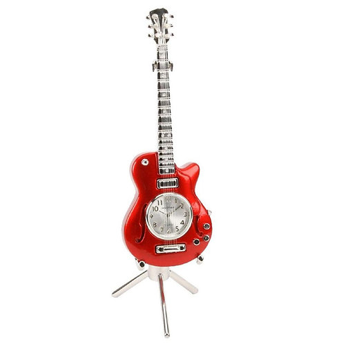 Red guitar, stand, small clock, desk clock, front view