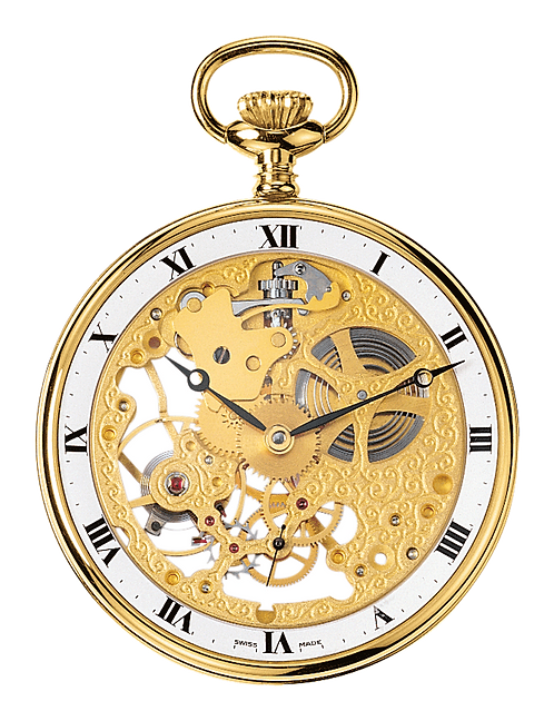 Aérowatch skeleton pocket watch, steel case gold plated roman numerals, mechanical 1 day