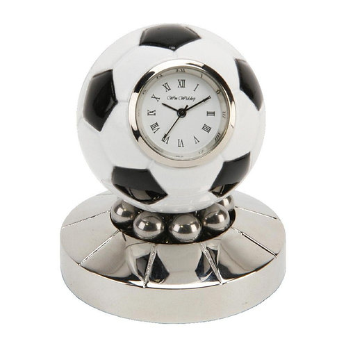 Rotating football soccer, small clock, desk clock, front view