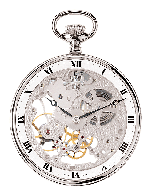 Aérowatch skeleton pocket watch, steel case roman numerals, mechanical 1 day
