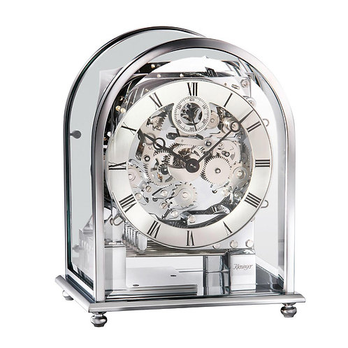 Kieninger Mantel clock silver skeleton, Metal and arched glass case, 8 days movement