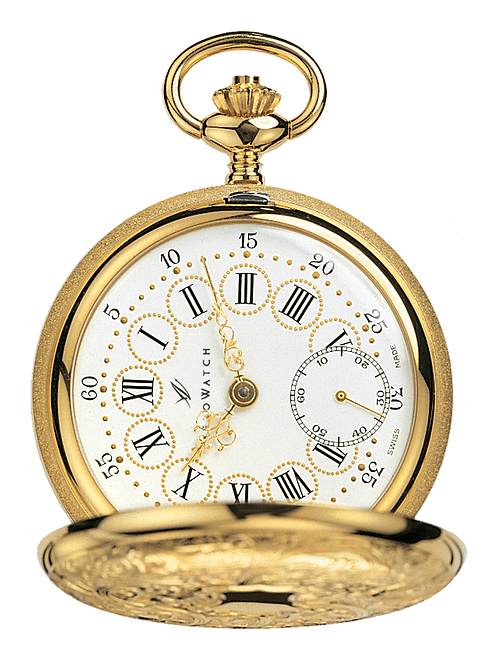 Aérowatch pocket watch lid, steel case gold plated white face small second roman numerals with cicles, mechanical 1 day
