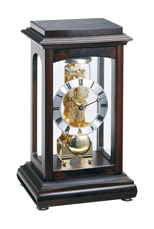 Hermle Tall Skeleton Mantel Clock wood and glass, Roman numerals, 8 days movement