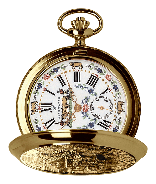 Aérowatch pocket watch lid, steel case gold plated white face cow and flowers small second roman numerals, mechanical 1 day