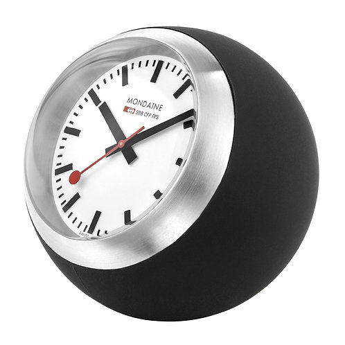 Mondaine red table clock, desk clock, side view
