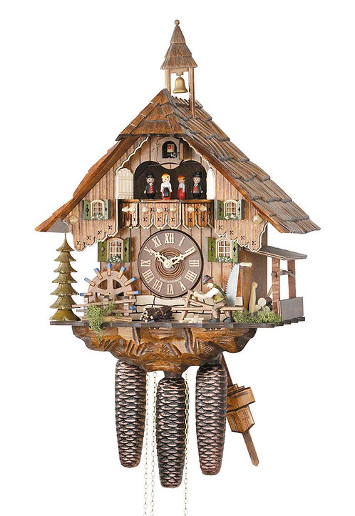 Hekas 8 days Cuckoo clock, Music, Dancers, Shingle maker, Mill Wheel, front view